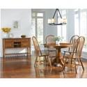 AAmerica Roanoke 5 Piece Oval Extension Pedestal Table & Arrowback Chair Set