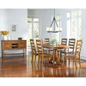 AAmerica Roanoke Oval Single Pedestal Dining Table with Extension Leaf