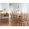 AAmerica Roanoke 7 Piece Butterfly Ext. Trestle Table & Arrowback Chair Set