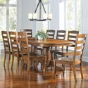 AAmerica Roanoke 9 Piece Dining Set - Item Number: ROA-RH-6-30-0+8xROA-RH-2-55-K