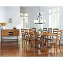 AAmerica Roanoke 9 Piece Butterfly Ext. Trestle Table & Ladder Back Chair Set