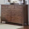 AAmerica Sodo Nine Drawer Dresser - Item Number: SOD-WB-5-50-0