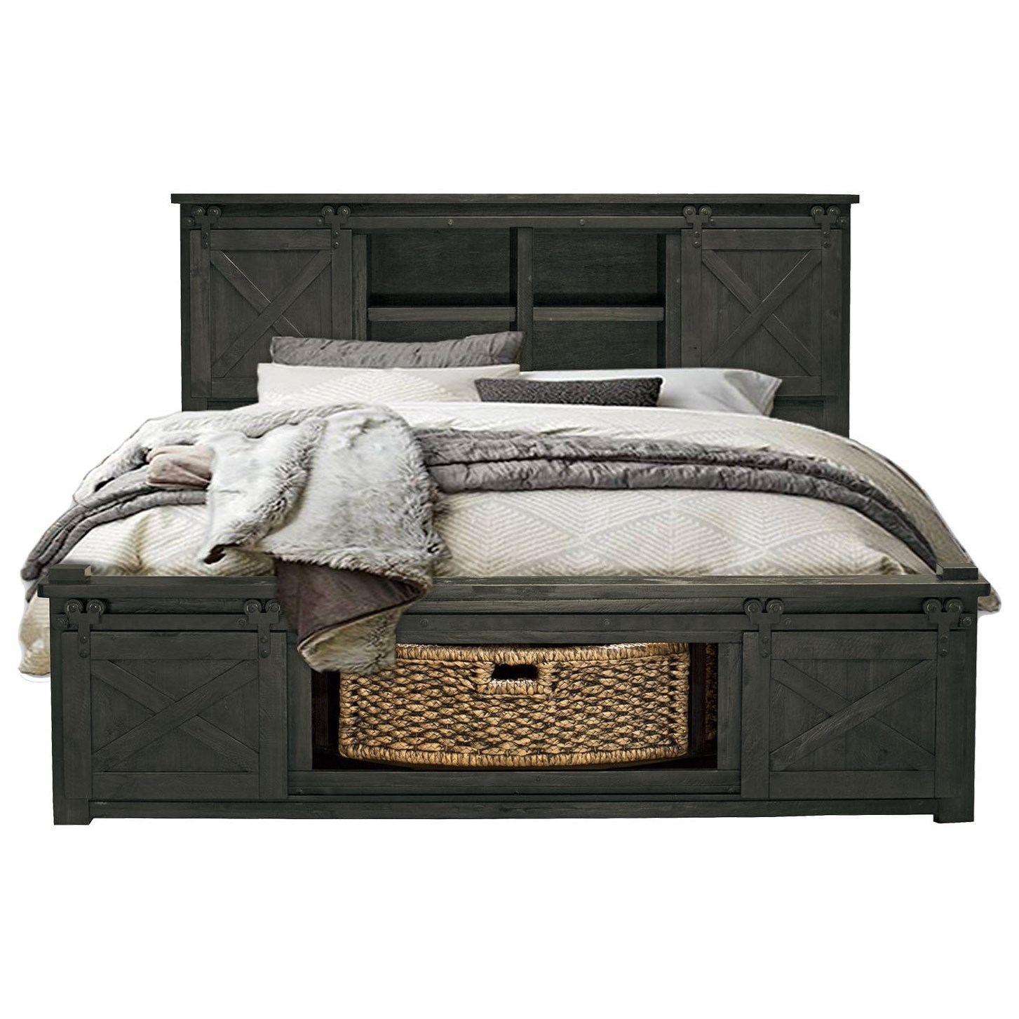 Aamerica Sun Valley King Bed With Rotating Storage Zak S Home Panel Beds