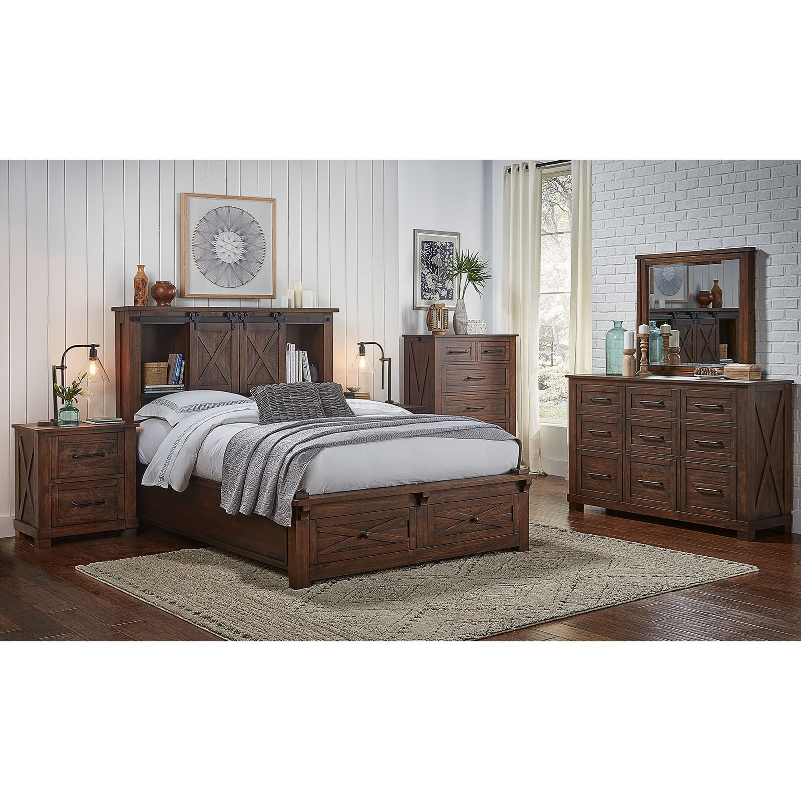 AAmerica Sun Valley King Storage Bed with Footboard Bench ...