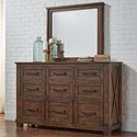 AAmerica Sun Valley Dresser and Mirror Set - Item Number: SUV-RT-5-51-0+55-0