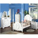 Acme Furniture 01660 Full Poster Bed w/ Floral Painting  - Shown in Room Setting with Chest and Nightstand