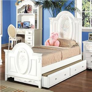 Acme Furniture 01660 Twin Panel Bed with Painted Floral and Carved Details