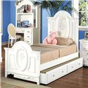 Acme Furniture 01660 Twin Panel Bed with Painted Floral and Carved Details - Bed Shown May Not Represent Size Indicated