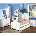 Acme Furniture 01660 Twin Panel Bed with Painted Floral and Carved Details - Shown in Room Setting with Dresser, Mirror, Desk, Hutch and Nightstand