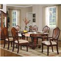 Acme Furniture 11800 Traditional Splat-Back Arm Chair with Upholstered Seat - Shown with Table and Side Chairs