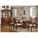 Acme Furniture 11800 Traditional Splat-Back Arm Chair with Upholstered Seat - Shown with Table, Side Chairs, Buffet and Hutch