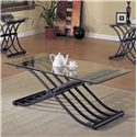Acme Furniture 2708 X-Shaped Fold Out Wave Base 3 Piece Coffee/End Table Set - Coffee Table