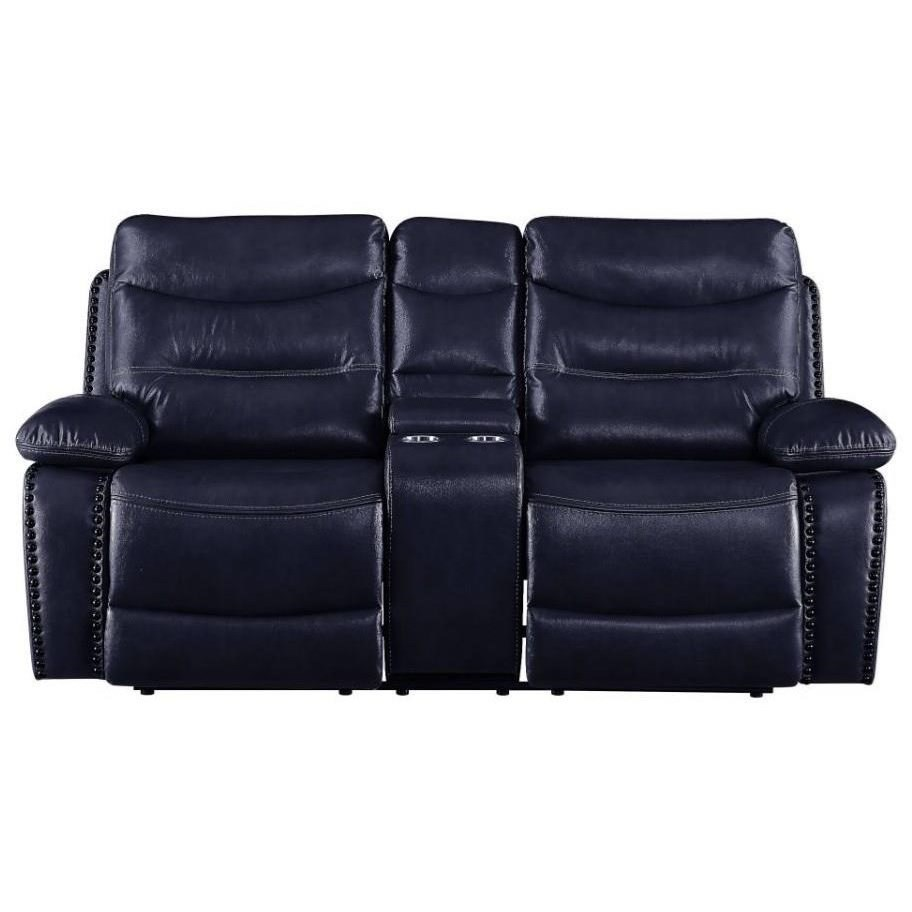 Aashi Reclining Loveseat w/Console by Acme Furniture at Del Sol Furniture