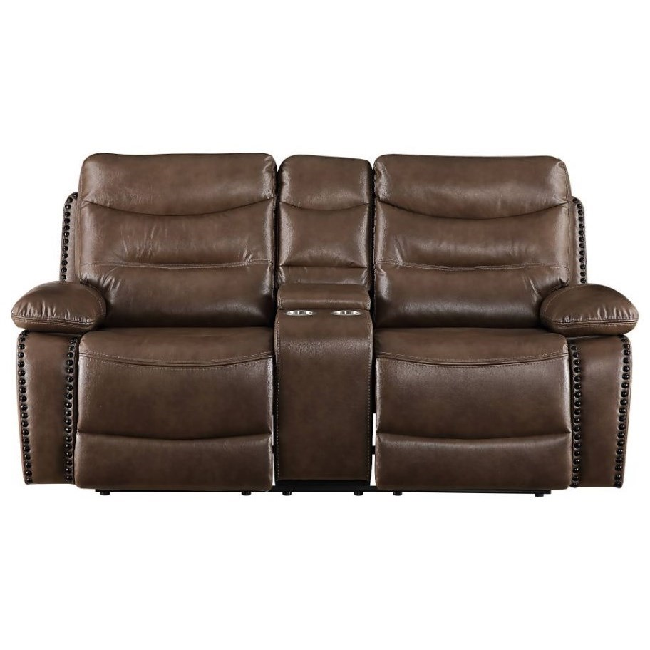 Aashi Reclining Loveseat w/Console by Acme Furniture at Dream Home Interiors