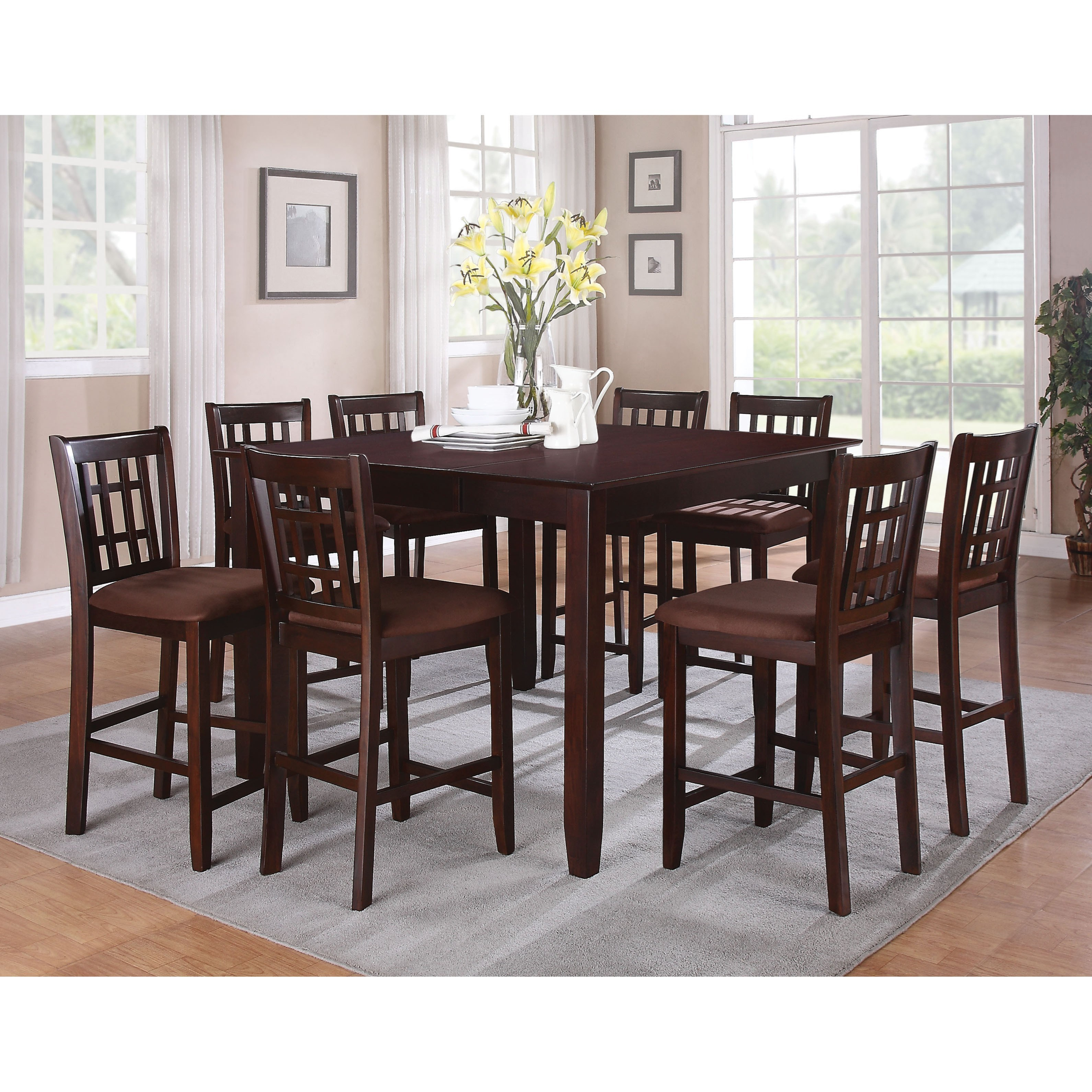 Counter Height Dining Set with 8 Chairs