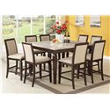 Acme Furniture Agatha Square Counter Height Dining Table with Marble Top