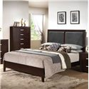 Acme Furniture Ajay Eastern King Bed with Upholstered Black PVC Headboard - Queen Size Shown