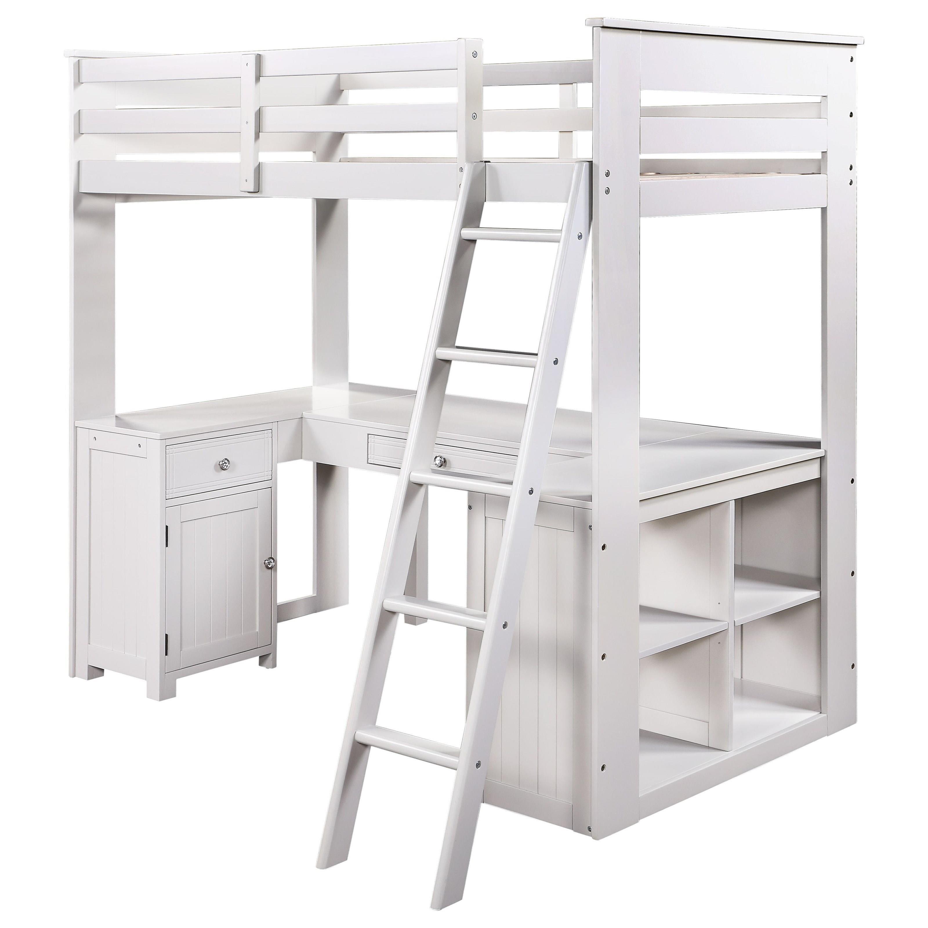 Ambar Loft Bed w/Chest, Desk & Bookcase by Acme Furniture at Carolina Direct