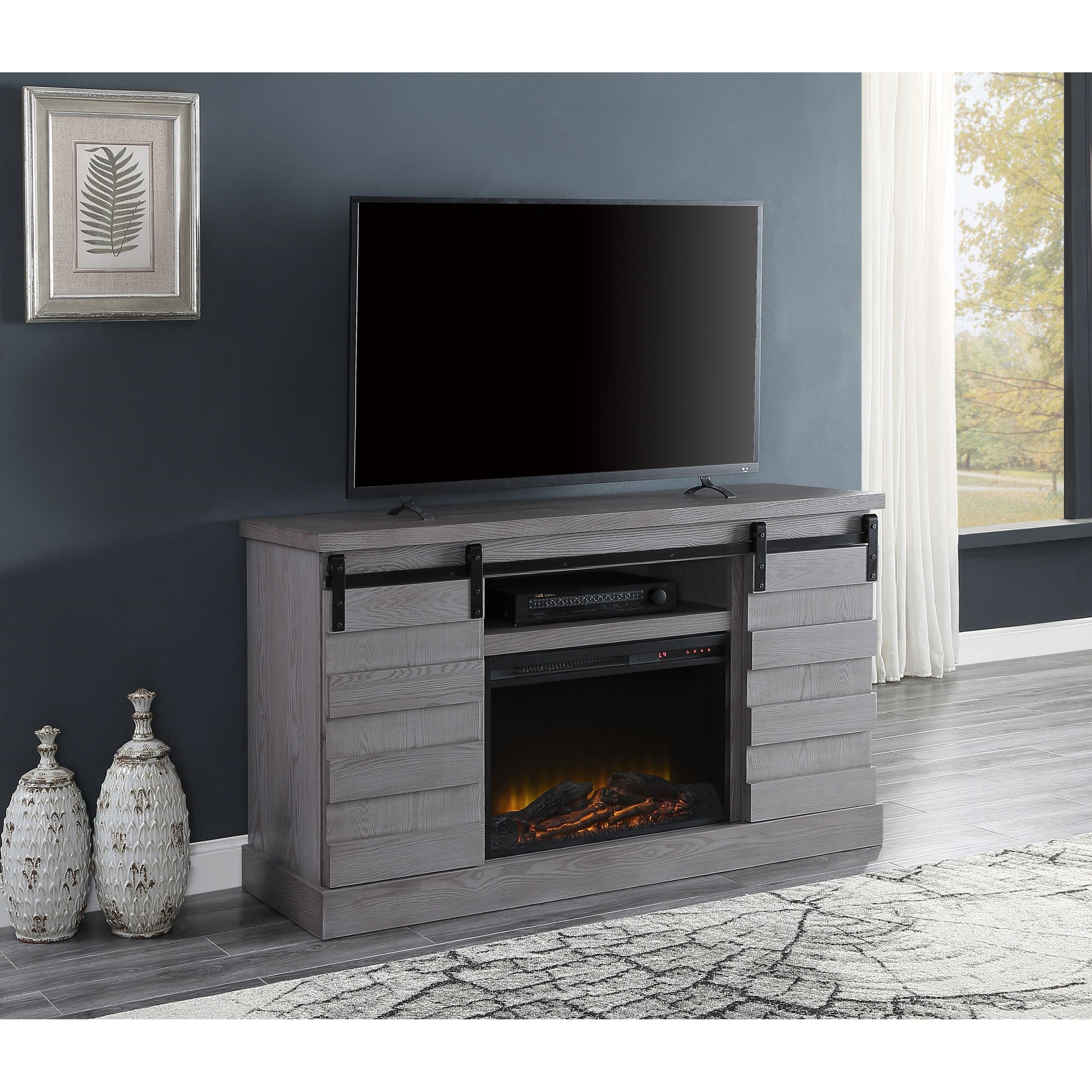Amrita TV Stand with LED Fireplace by Acme Furniture at Carolina Direct