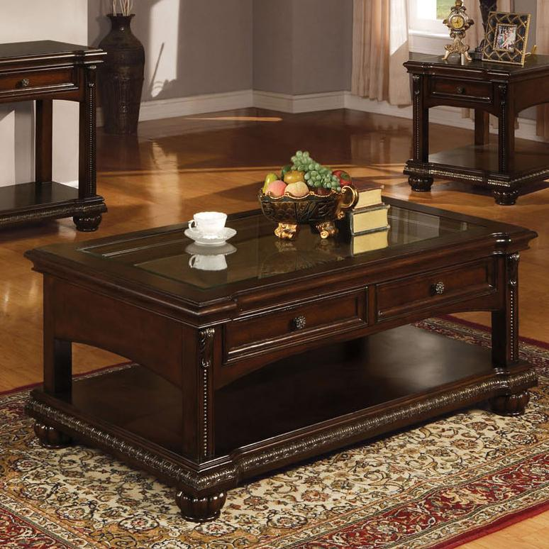 Acme furniture anondale 10322 traditional coffee table w glass del sol furniture cocktail Traditional coffee tables and end tables