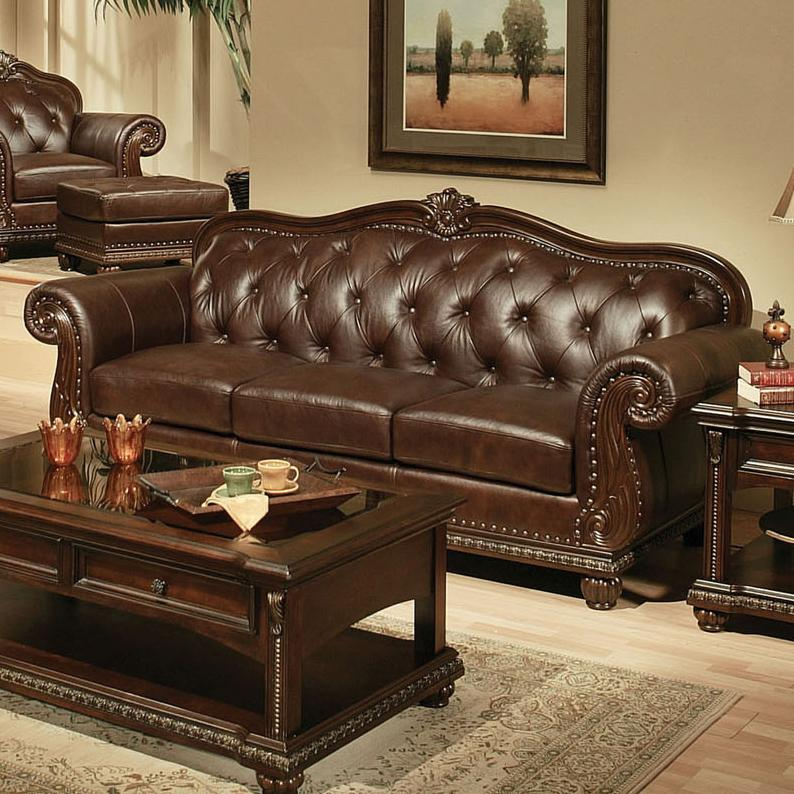 Acme Furniture Anondale 15030 Traditional Cherry Top Grain Leather