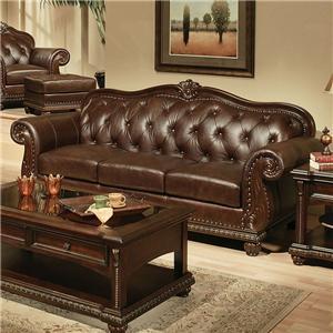 Cherry Top Grain Leather Sofa