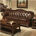 Acme Furniture Anondale Cherry Top Grain Leather Sofa - Item Number: 15030