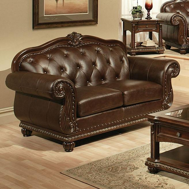 Cherry Top Grain Leather Loveseat