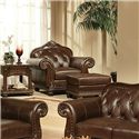 Acme Furniture Anondale Traditional Cherry Top Grain Leather Chair - Shown with Ottoman
