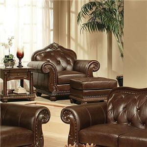 Acme Furniture Anondale Cherry Top Grain Leather Ottoman