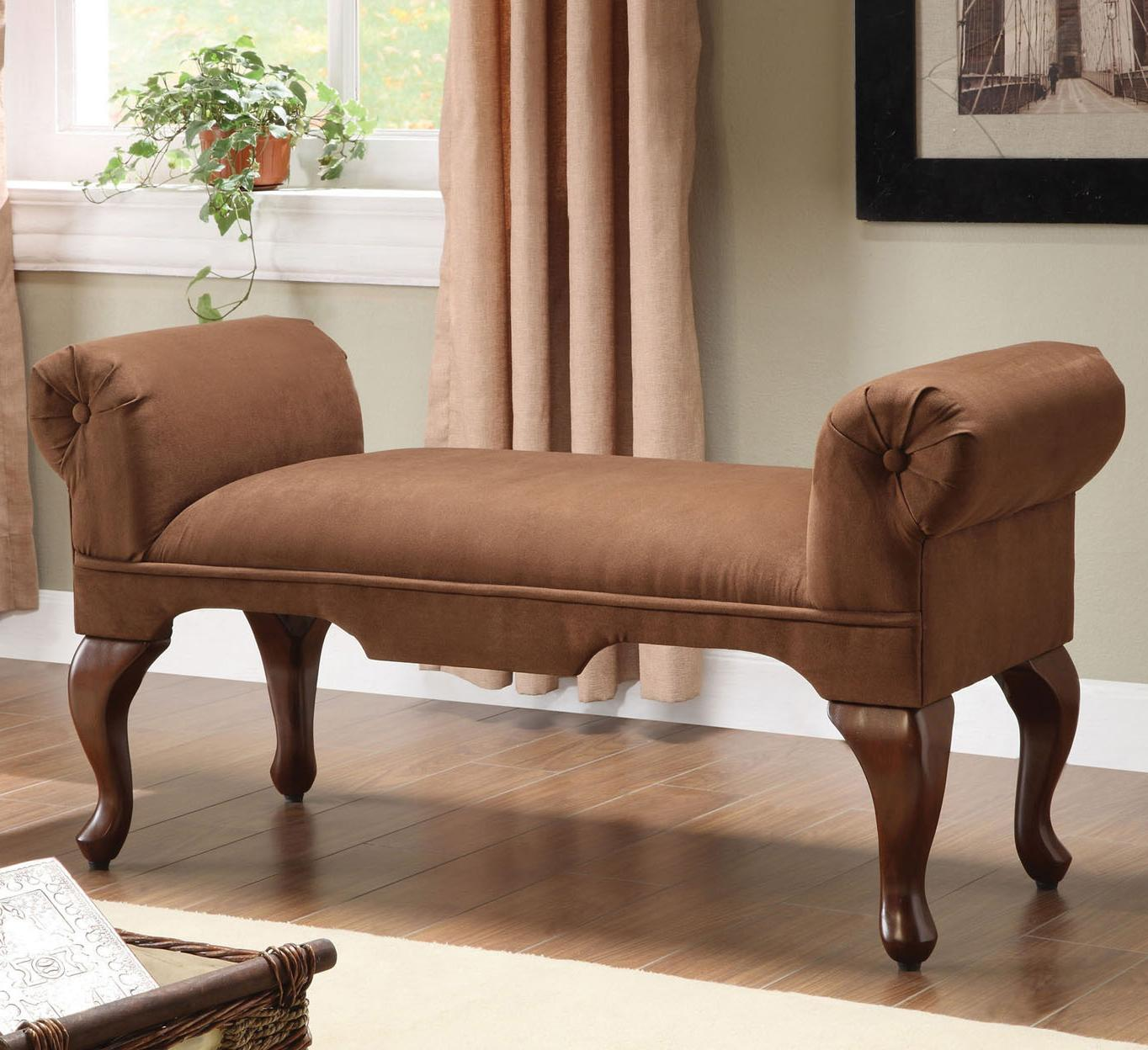 Acme Furniture Aston 05626 Traditional Rolled Arm Bench With Cabriole Legs Furniture