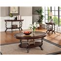 Acme Furniture Bavol Sofa Table with Tempered Glass Top and Shelf - Shown with Coffee Table and End Table