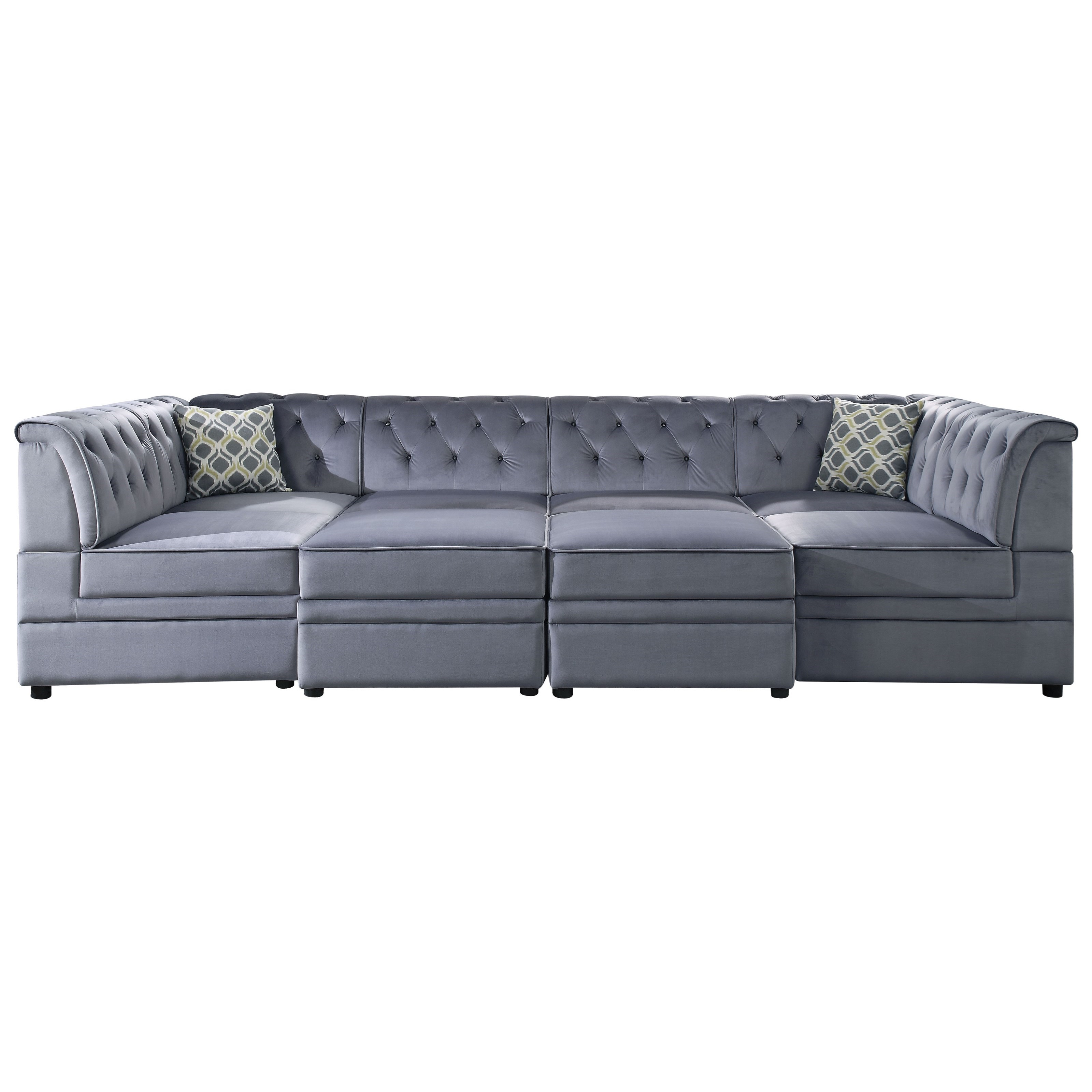 Prime Acme Furniture Bois Ii 4 Seat Tufted Sectional Sofa With Bralicious Painted Fabric Chair Ideas Braliciousco
