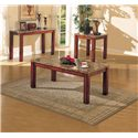 Acme Furniture Bologna Brown Marble Sofa Table with Wood Block Legs - Shown with Coffee Table and End Table