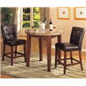 Acme Furniture Bologna Counter Height Table with Marble Top - Shown with Counter Height Chairs