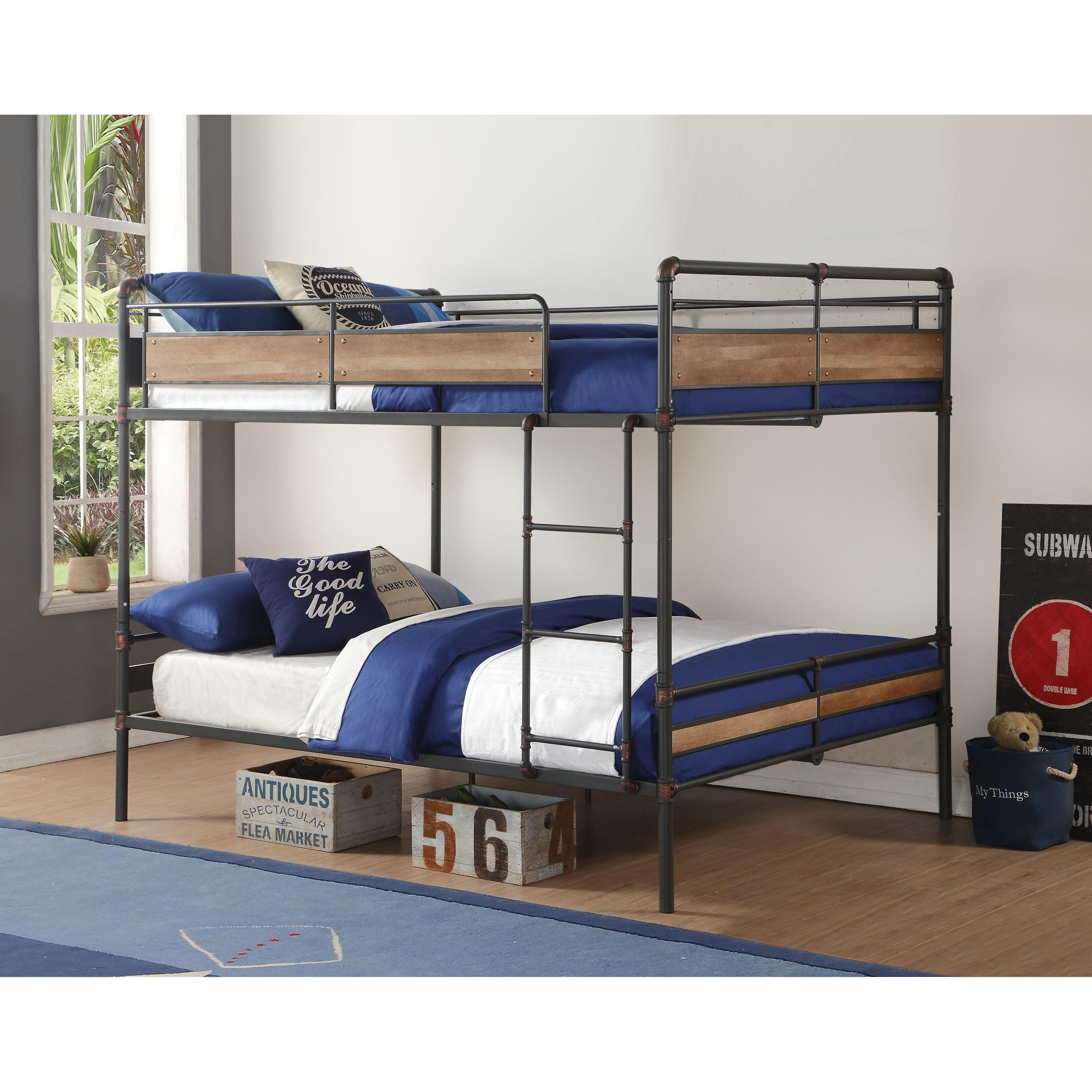 Picture of: Acme Furniture Brantley Ii 37730 Industrial Queen Bunk Bed Corner Furniture Bunk Beds