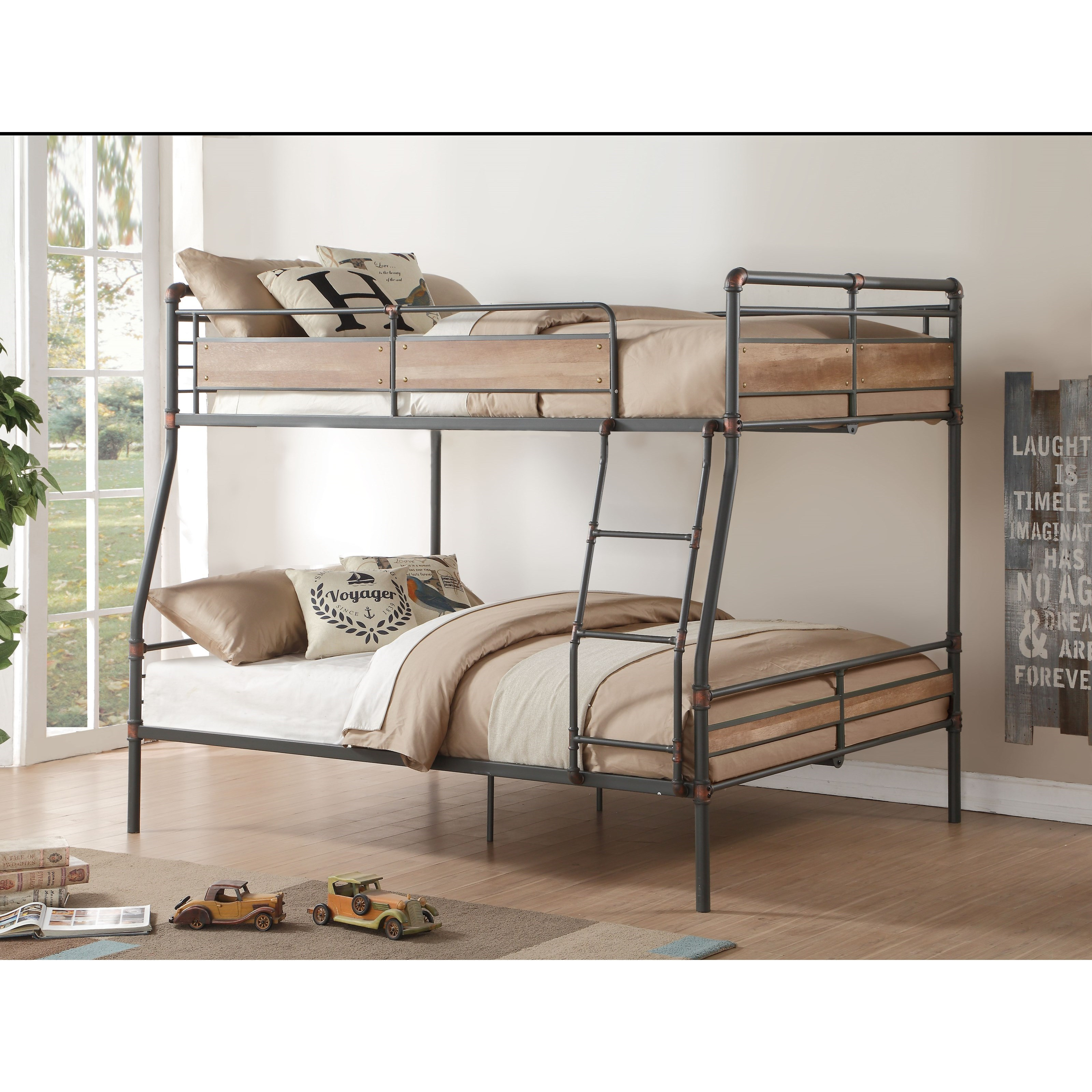 Picture of: Acme Furniture Brantley Ii Industrial Full Xl Over Queen Bunk Bed Dream Home Interiors Bunk Beds