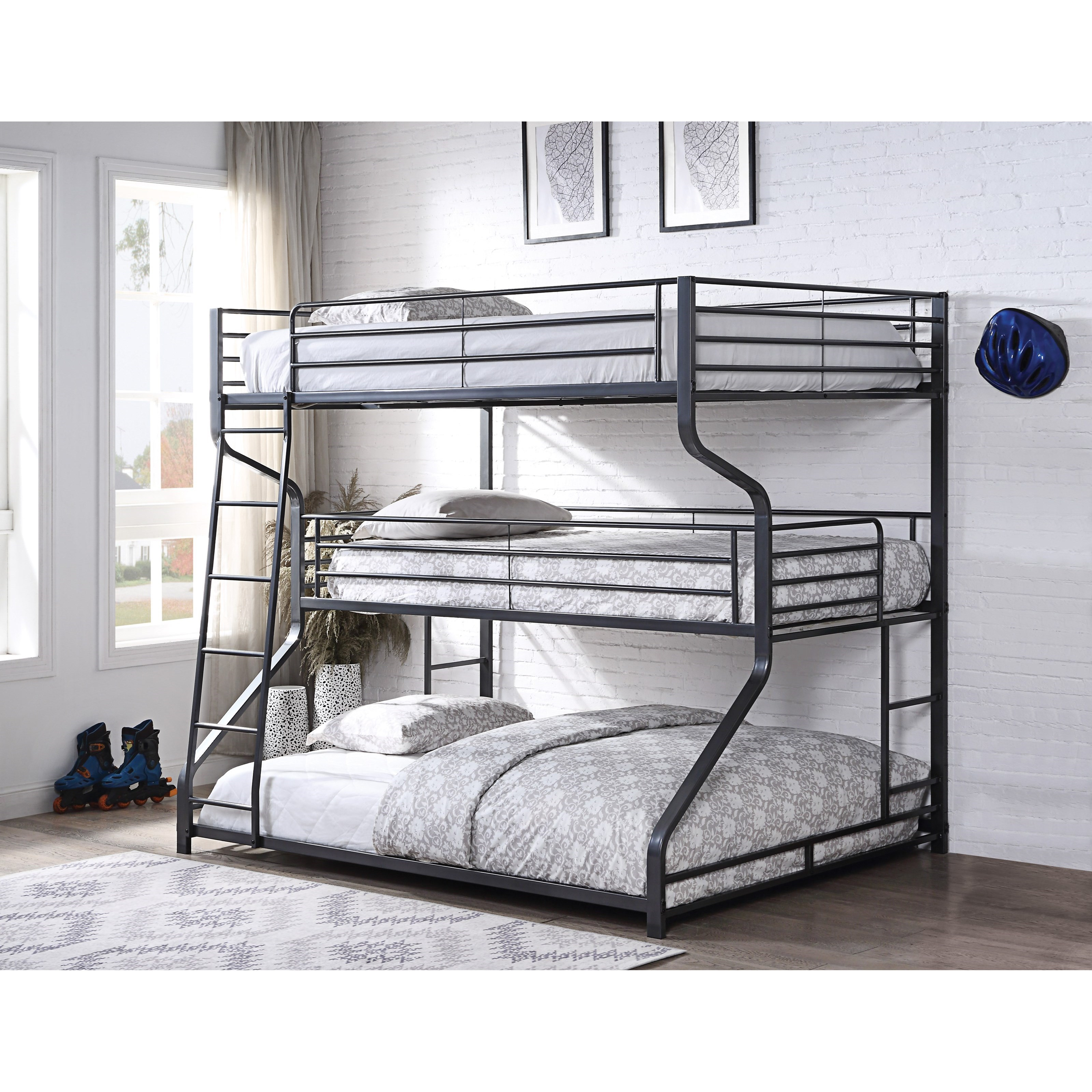 Picture of: Acme Furniture Caius Ii 37795 Metal Triple Bunk Bed Twin Full Queen Corner Furniture Bunk Beds