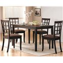 Acme Furniture Cardiff Espresso Side Chair w/ Upholstered Seat - Shown with Table