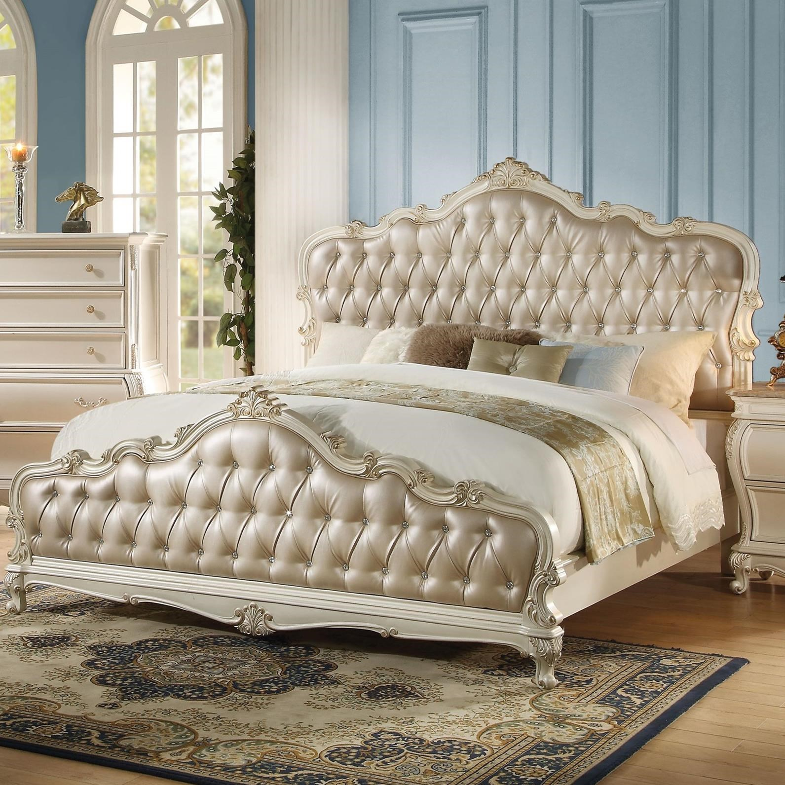 Acme Furniture Chantelle 23537ek Upholstered King Bed With Tufted Headboard Del Sol Furniture Panel Beds