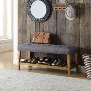 Upholstered Bench With Shelf