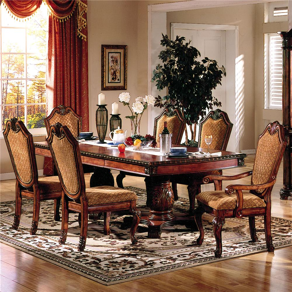 Acme Furniture Chateau De Ville 7 Piece Formal Dining Set With Fabric Upholstered Chairs Dream Home Interiors Dining 7 Or More Piece Sets
