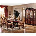 Acme Furniture Chateau De Ville 7 Piece Formal Dining Set with Fabric Upholstered Chairs - Shown With China Cabinet