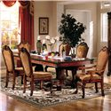 Acme Furniture Chateau De Ville Rectangle Double Pedestal Dining Table With Leaves - Shown With Dining Side Chairs and Arm Chairs
