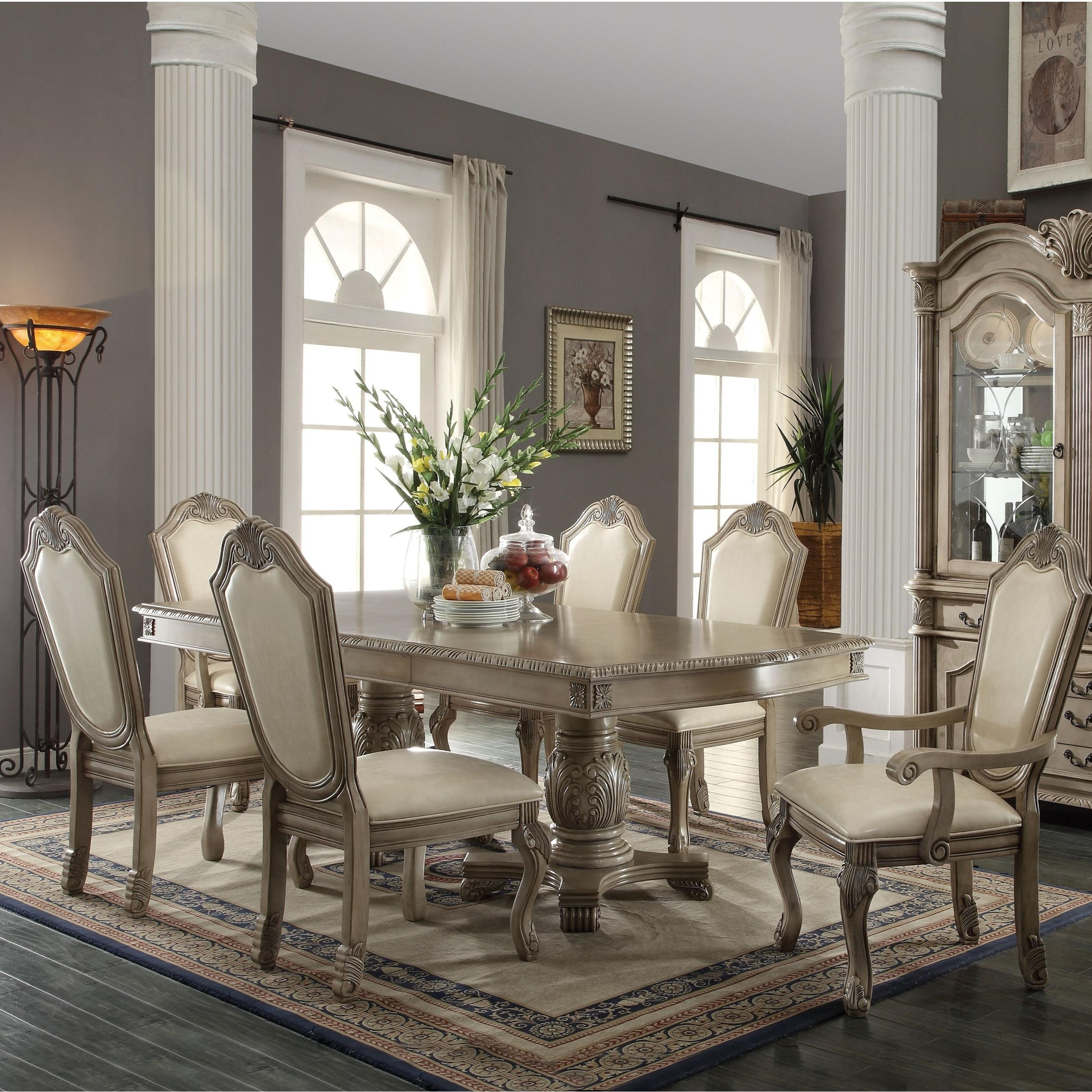 Acme Furniture Chateau De Ville 64065 2x64068 4x64067 7 Piece Formal Dining Set With Fabric Upholstered Chairs Corner Furniture Dining 7 Or More Piece Sets