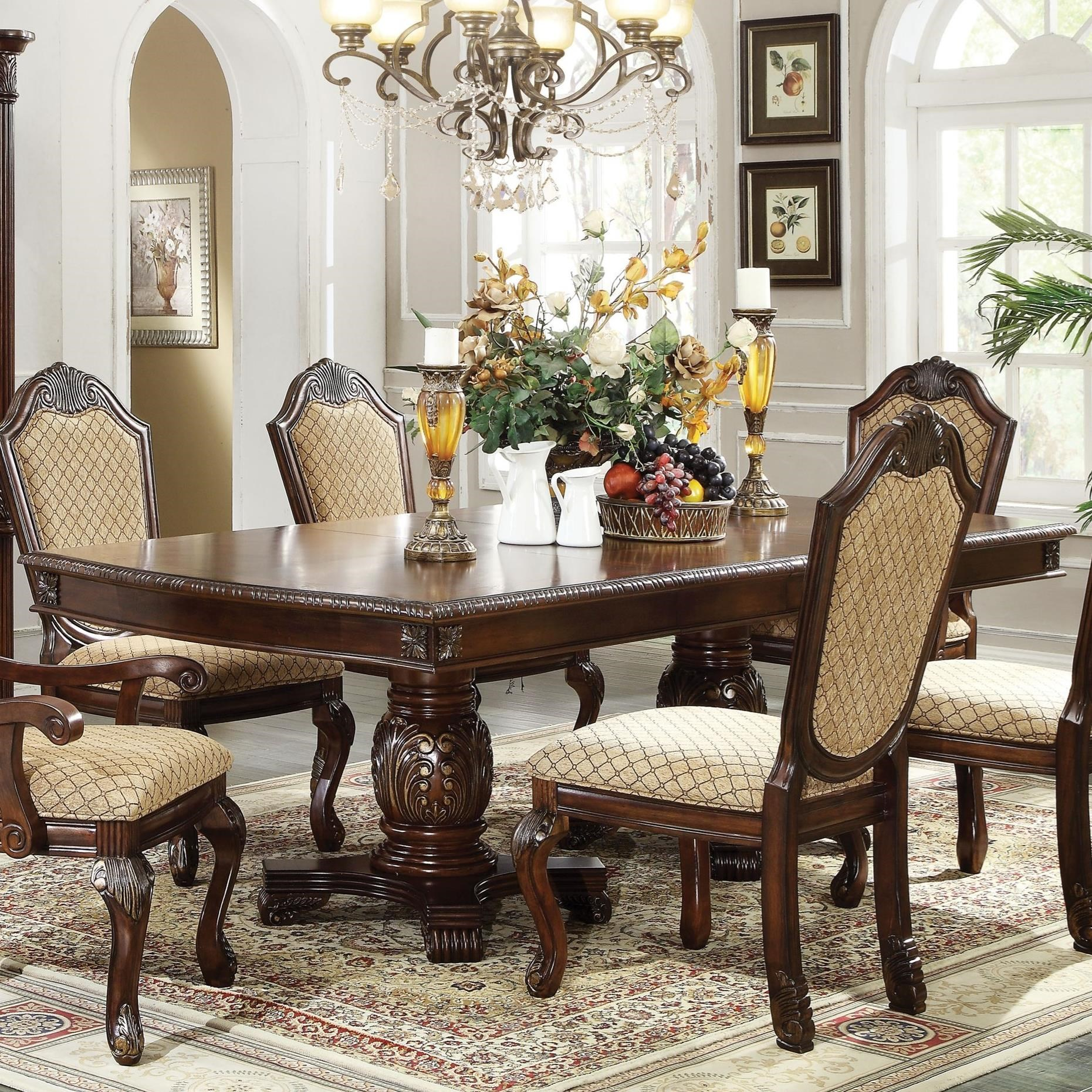 Acme Furniture Chateau De Ville Rectangle Double Pedestal Dining Table With Leaves Rooms For Less Dining Tables