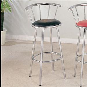 Acme Furniture Cucina Chrome Swivel Bar Stool (Black)