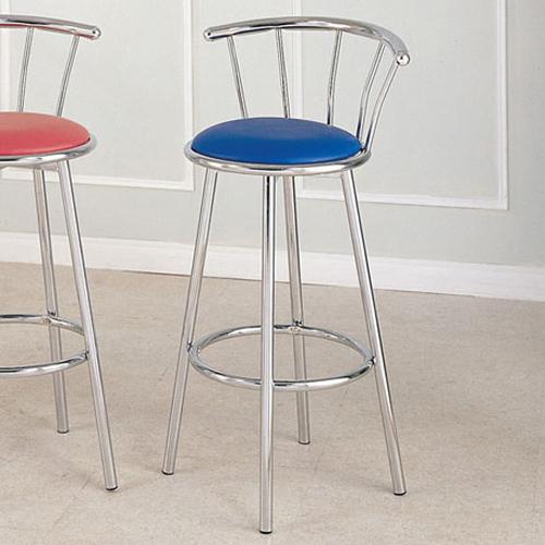 Acme Furniture Cucina Chrome Swivel Bar Stool (Blue) - Item Number: 02045BU