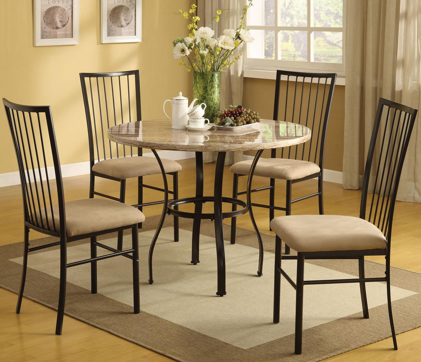 Acme Furniture Darell 5-Piece Faux Marble Dining Set - Item Number: 70295W