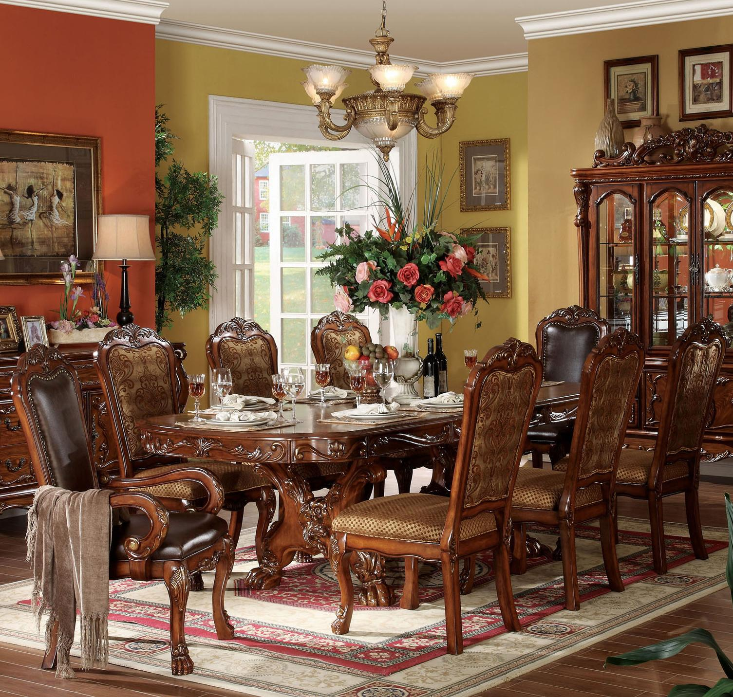 Elegant Dining Room Sets: Acme Furniture Dresden 9 Piece Dining Table And Chair Set